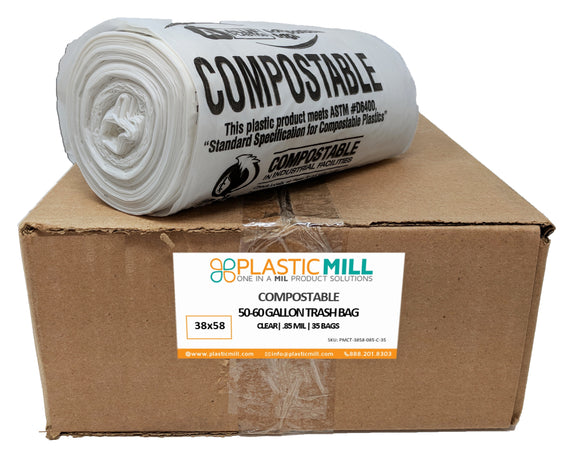 50-60 Gallon Garbage Bags, Compostable: Clear, 0.85 MIL, 38x58, 35 Bags.