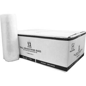 13 Gallon Garbage Bags, Drawstring :Clear, 1 MIL, 24x31, 250 Bags.
