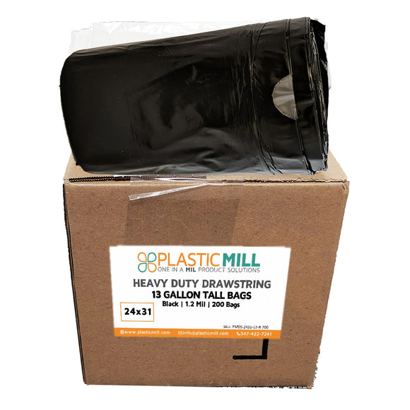 13 Gallon Garbage Bags, Drawstring: Black,  1.2 MIL, 24x31, 200 Bags.