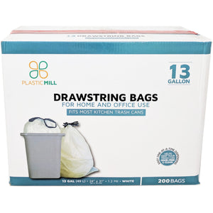 13 Gallon Garbage Bags, Drawstring: White, 1.2 MIL, 24x31, 200 Bags.