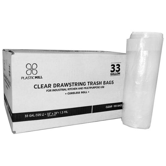 33 Gallon Garbage Bags, Drawstring: Clear, 1.3 Mil, 33x39, 100 Bags.