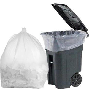 100 Gallon Garbage Bags: Clear, 1.3 Mil, 67x79, 30 Bags/Case.