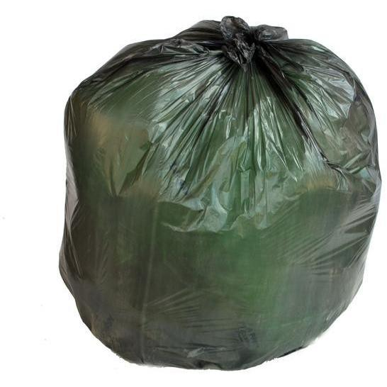 7-10 Gallon Garbage Bags, High Density: Black, 8 Micron, 24x24, 100 Bags.