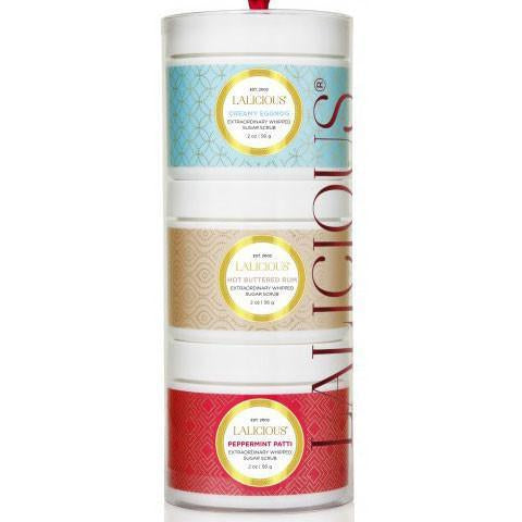LALICIOUS Limited Edition Holiday Sugar Scrub Tower 3 x 2oz/56g - The Beauty Shoppers