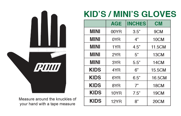 Size chart pow gloves