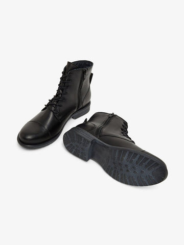 BIADANELLE Leather Derby Boot - Black
