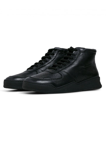 Mens High Top - Black Tumbled Leather