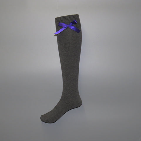 Girls knee-high school socks with contrast bow detail - Quality school uniforms at the School Clothing Company