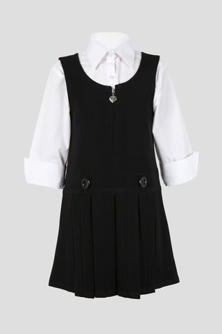 Girls school pinafore with double button and heart zip detail - Quality school uniforms at the School Clothing Company