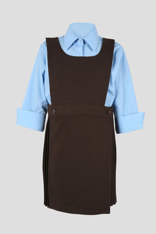 Girls school bib pinafore with button detail - Quality school uniforms at the School Clothing Company