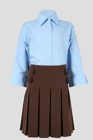 Girls pleated school skirt with button detail - Quality school uniforms at the School Clothing Company