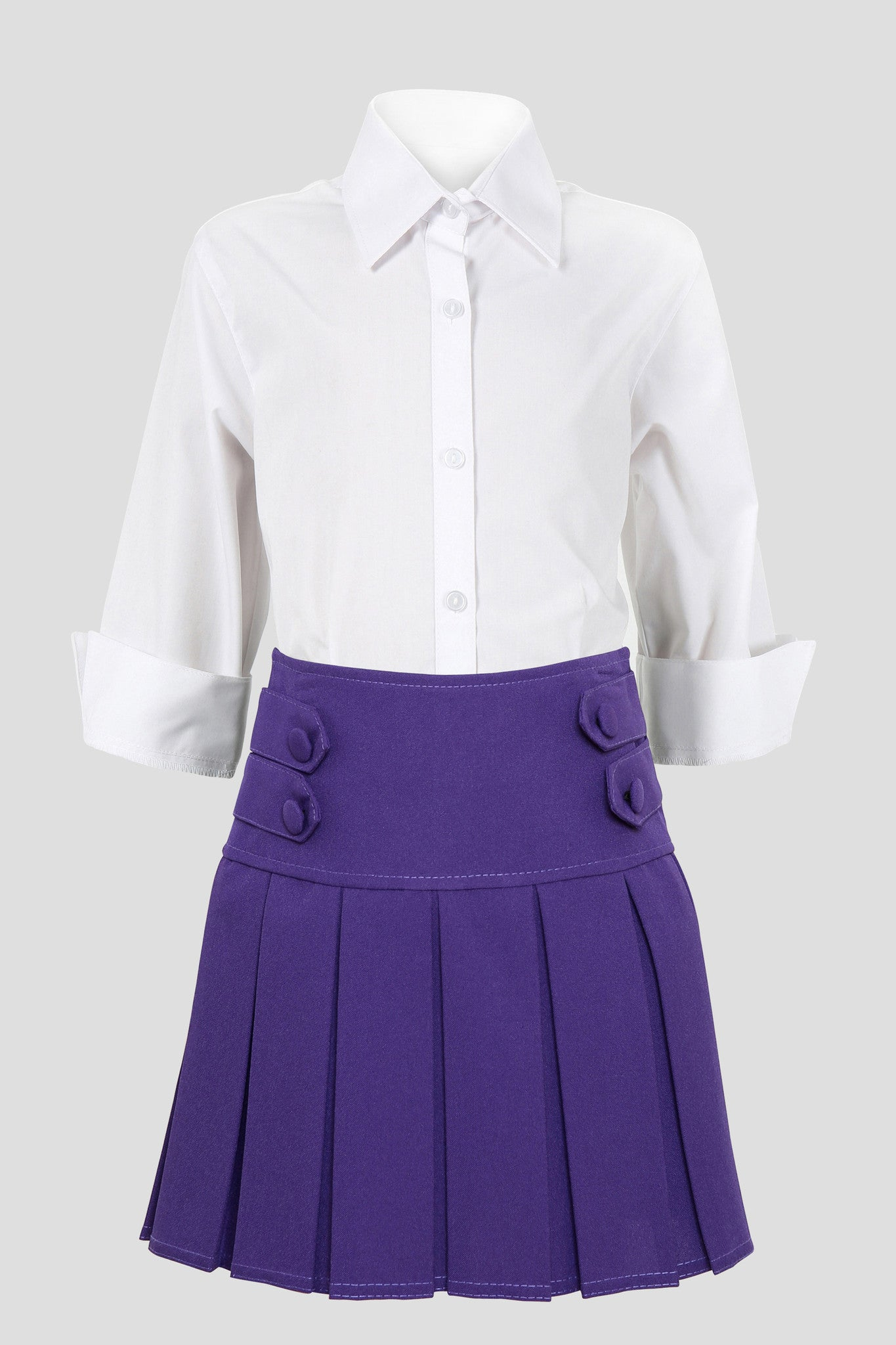 School Uniform Girls Box Pleat Skirt Full Elastic Grey 9-10