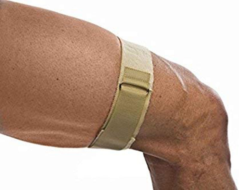 Cho-Pat ITB Strap - Thigh Support for Running and Everyday Activities to Relieve Discomfort from Iliotibial Band Syndrome (ITBS), X-Small: 12 Inches - 15.5 Inches, Tan