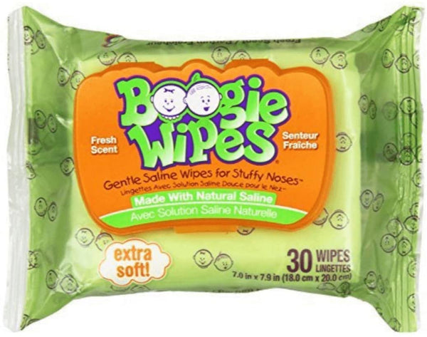 Boogie Wipes Natural Saline Hypoallergenic Fresh Scent Extra Soft Nose Wipes, 30 Count