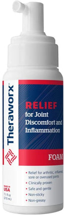 Theraworx Relief Joint Discomfort Inflammation Compression Hand Glove Plus 3.4 Fluid Ounce Topical Foam, Small/Medium