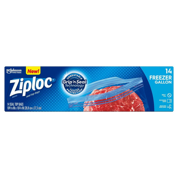 Ziploc Gallon Plastic Double Zipper Freezer Bags  with Grip 'n Seal Technology, 14 Count