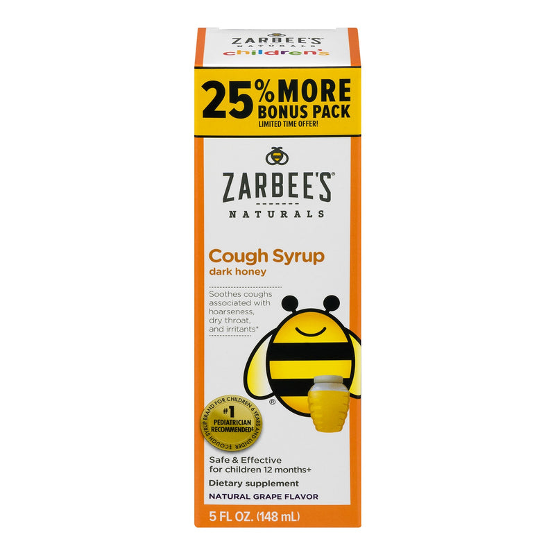 Zarbee's Naturals Children's Cough Syrup with Dark Honey, Natural Grape Flavor, 5 Fluid Ounces