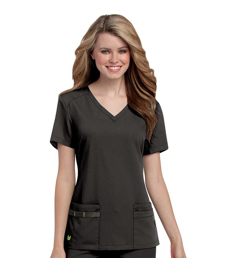 Urbane Ultimate Women's V-Neck Shoulder Yoke Solid Scrub Top, X-small, Black/Pear