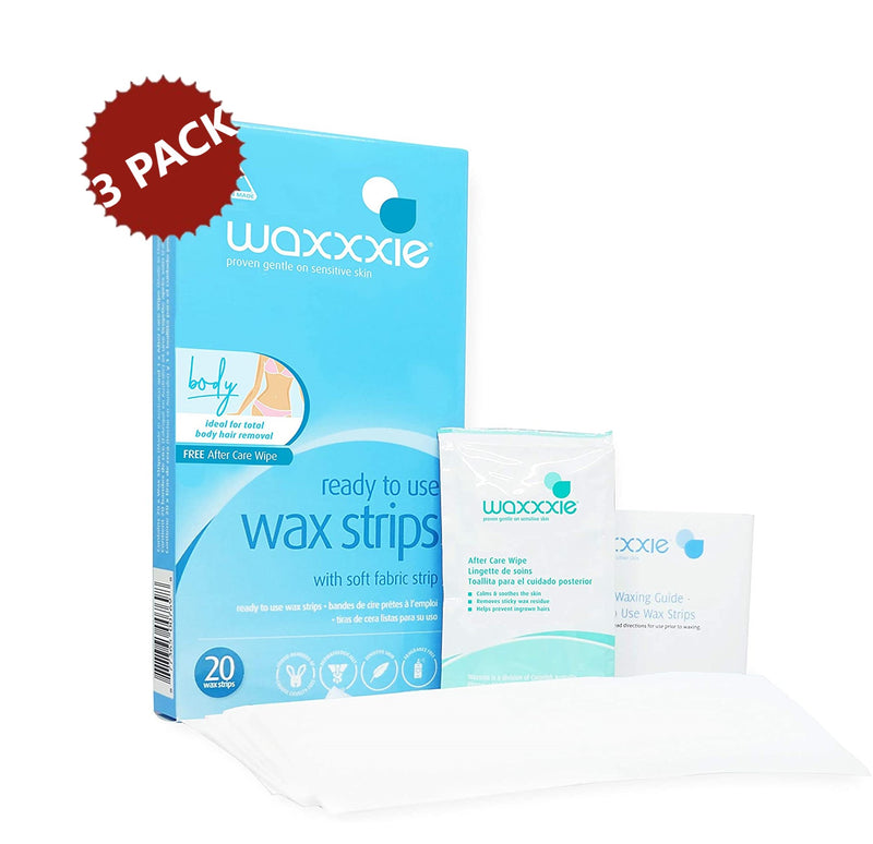 3-PACK Waxxxie Ready to Use Pre-Waxed Strips for Legs and Total Body Hair Removal, 60 Count