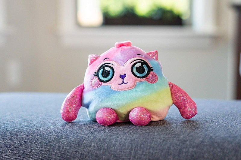 Squeezamals MushMeez Squeezy, Squishy, Moldable Plush, Stuffed Olivia Cat, Llama, Pink Rainbow