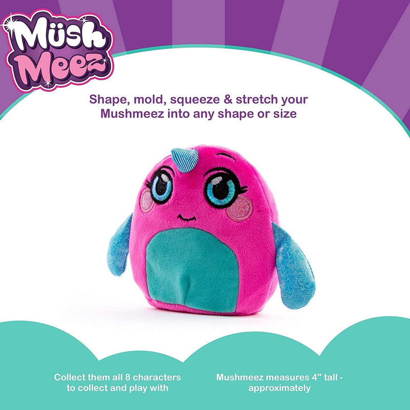 Mushmeez Parent Squeezy Squishy Moldable Plush Soft Smashable Stuffed Animal, Narwhal