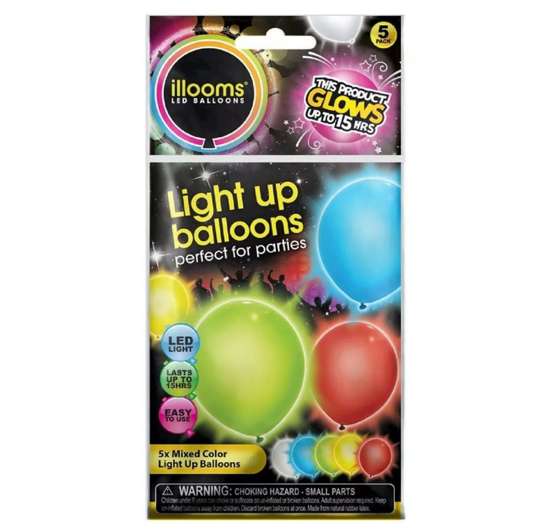 Illooms LED Light Up 5 Mixed Colors Solid Balloons Lasts Up to 15 Hours, 5 Count
