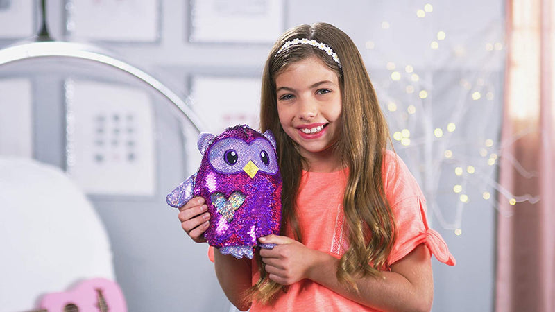 Shimmeez Sequin 8 Inches Plush Two-Toned Stuffed Animal,Purple and Silver, Oliver Owl