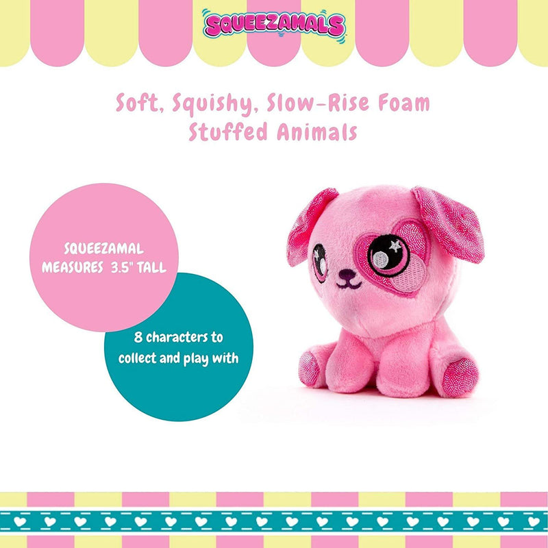Squeezamals 3 Deez Slow Rise Foam Soft and Squishy Stuffed Animals, Pink Dog Candy