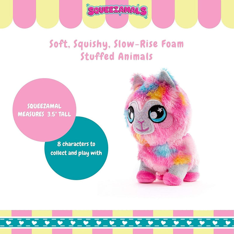 Squeezamals 3 Deez 4 Inches Soft Squishy Slow Rise Foam Stuffed Animals, Llama Jenny