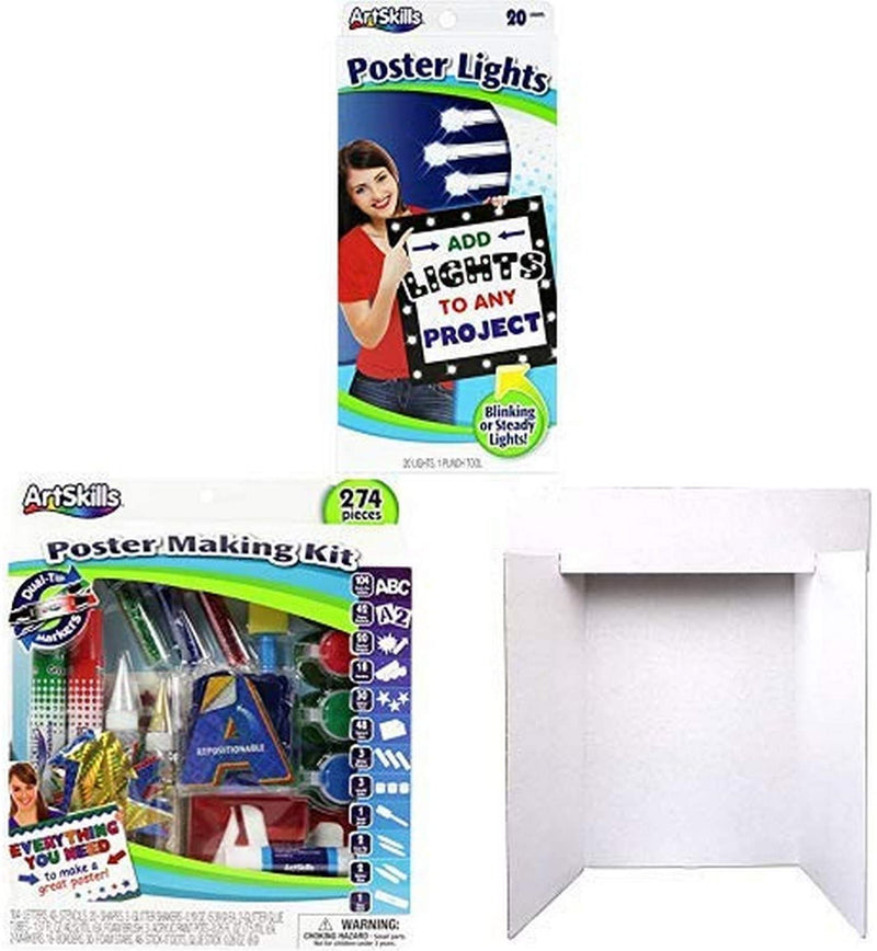 Artskills Complete Presentation Set, Includes Six Display Boards Large Enough to Display All Types of Projects, Poster Lights, and Poster Supplies Kit
