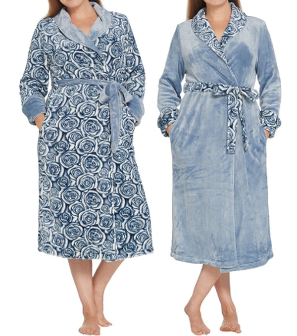 Casa Zeta-Jones Reversible Velvet Soft Relaxed Fit Rose Robe, Medium, Infinity Blue