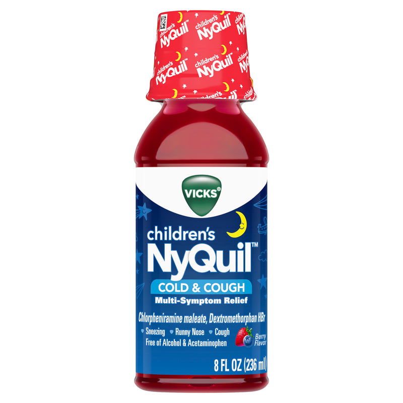Vicks Children's NyQuil Cold & Cough Relief Liquid, Cold & Cough Symptom Relief, Berry, 8 Fl Oz