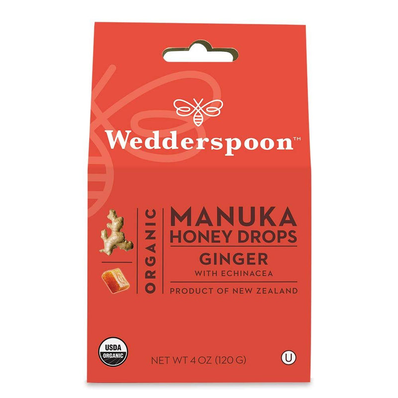 Wedderspoon Organic Manuka Perfect Remedy Honey Drops, Ginger with Echinacea, 4.0 Ounce