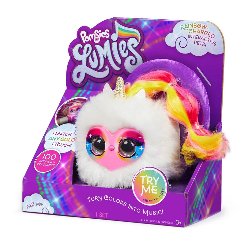 Pomsies Lumies Sparkle Rush Interactive Electronic Plush Rainbow Charged Pixie Pop Pet
