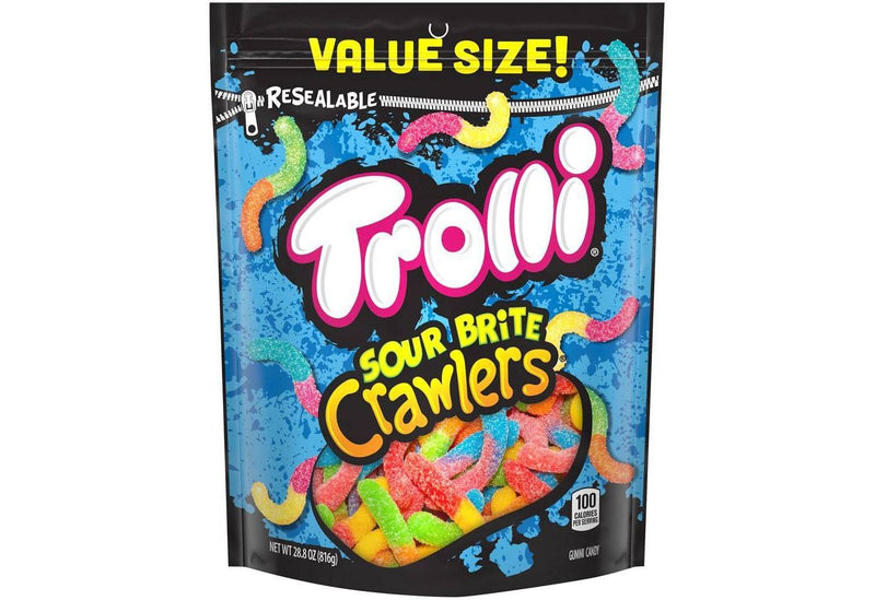 Trolli sweet and Lip Smacking Sour Brite Crawlers Gummy Worms Candy Bag, 28.8 Ounce