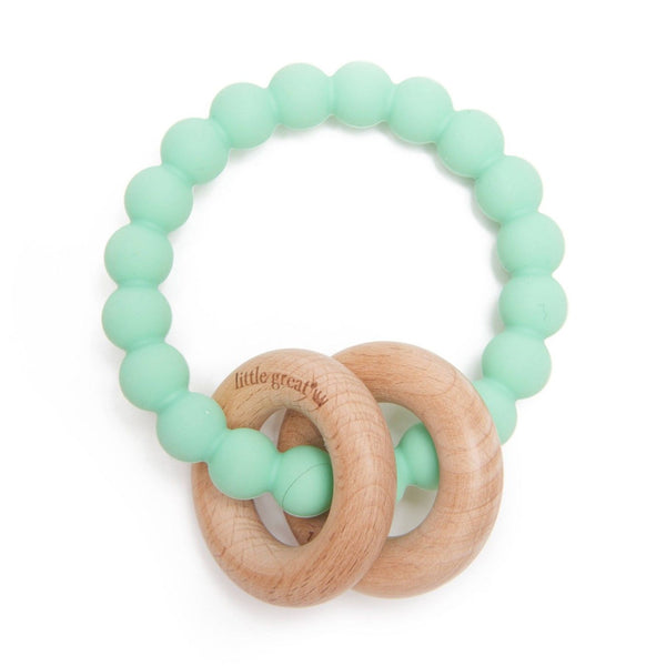 Little Great Windsor 100 Percent Silicone, Flexible and Soft Teether Wood Rings, Mint