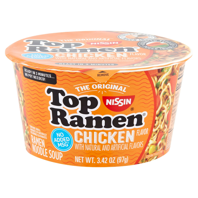 Nissin The Original Chicken Flavor No Added MSG Top Ramen Bowl Noodle Soup, 3.42 Ounce