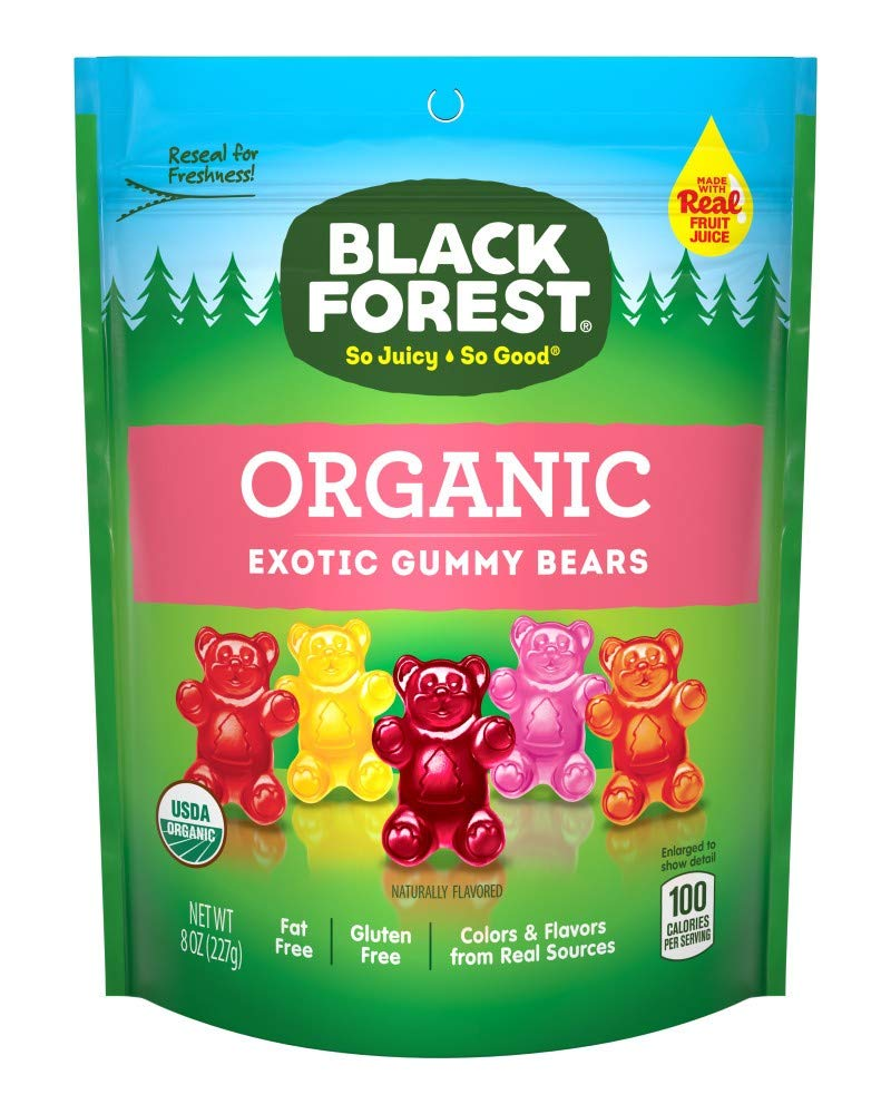Black Forest Organic Exotic Fat and Gluten Free Made With Real Fruit Juice Gummy Bears Candy, 8 Ounce