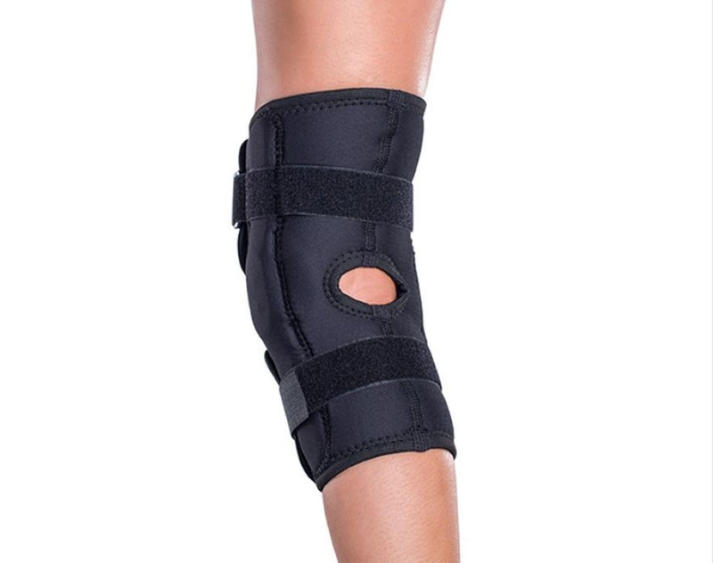 DonJoy Economy Hinged Low Profile Knee Brace Support, Drytex Constructed, Size: Small, Black