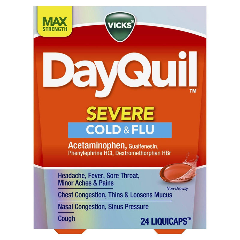 Vicks DayQuil Severe Cough, Cold and Flu Relief Acetaminophen LiquiCaps, 24 Count