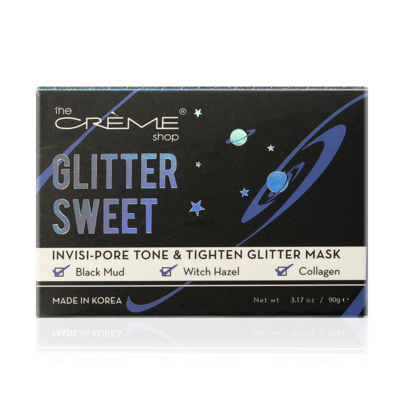 The Creme Shop Glitter Sweet, Invisi-Pore Tone and Tighten Skin Care Facial Glitter Mask, Infused with Black Mud, Witch Hazel, and Collagen, 3.17 oz.