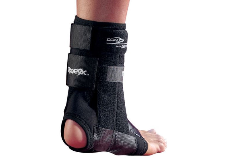 Donjoy Rocketsoc Ankle Brace with Neoprene Fabric Construction, Size: Extra Small (Male-4-5.5/Female-5-7.5), Left, Black