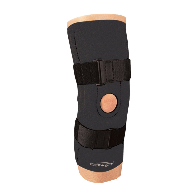 "DonJoy 23360 Inferior ""H"" Buttress Knee Support with Poplitial Cuto & Dual Spiral Stays, Offers Medial and Lateral Support, Small, Black"