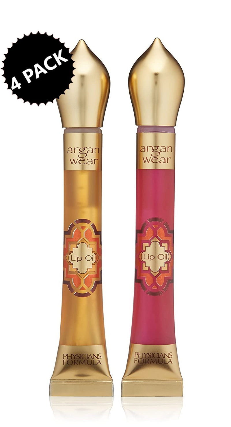 4-PACK Physicians Formula Argan Wear Ultra-Nourishing Argan Lip Oil Duo, Helps To Protect Against Drying From Environmental Conditions, Liquid Gold, 0.30 oz. each (2.4 oz.)