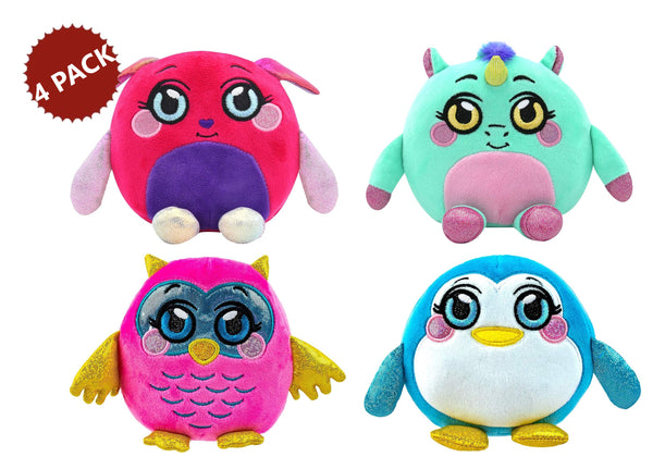 4-PACK Mushmeez Squeezy Squishy Moldable Soft Smashable Plush Stuffed Unique Animals, Assorted