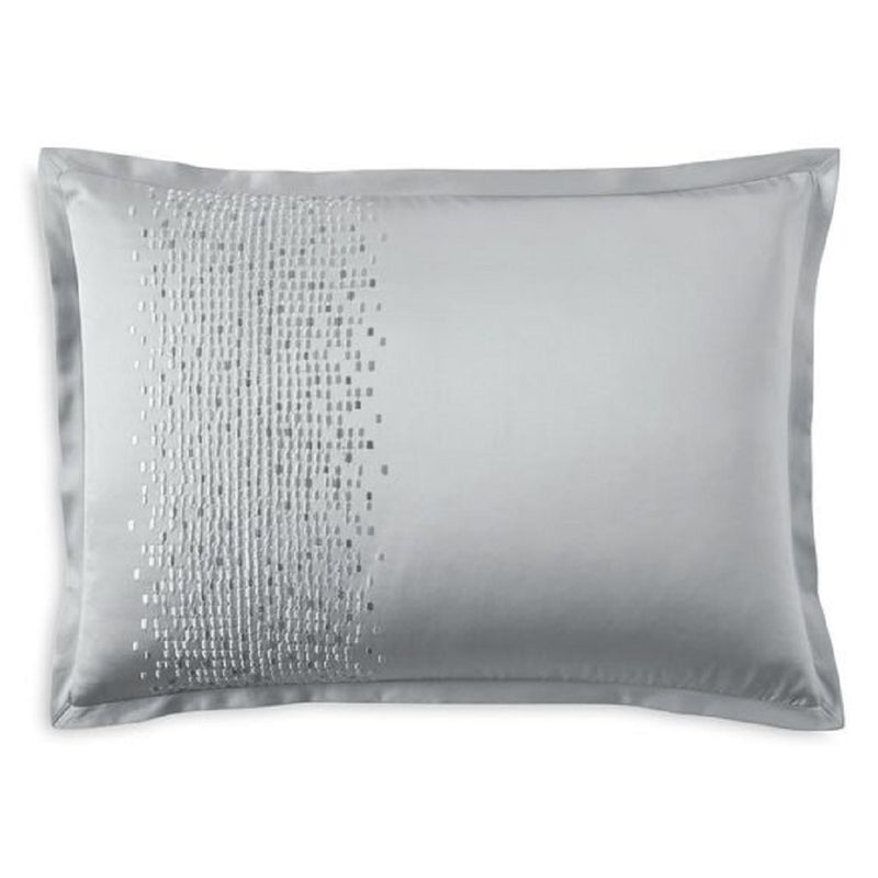 Hudson Park Collection Tessera Embroidered Standard Pillowsham, 20 Inches x 30 Inches, Slate Blue