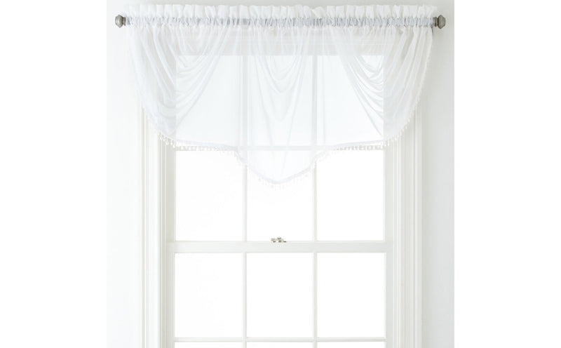 Home Expressions Lisette Sheer Imperial Beaded 90 Inches x 33 Inches Single Valance, Cool White