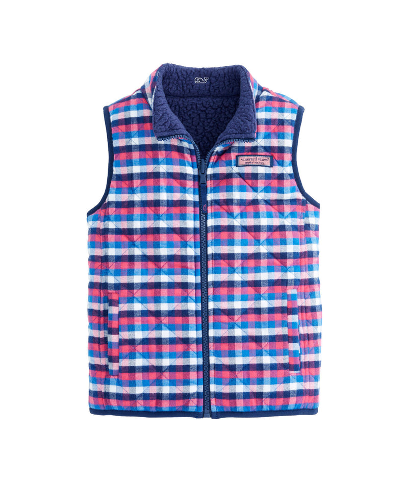 Vineyard Vines Girls Reversible Fuzzy Sherpa Fabric and Soft Flannel Vest, Large, Pink/Blue