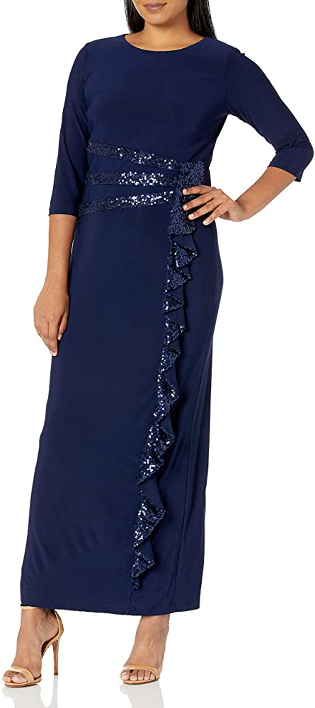 R&M Richards Women's Plus Winter Gown with Sleeves and Sequin Detail Long and Classic Sequins Cascade Party Dress, Navy, 18