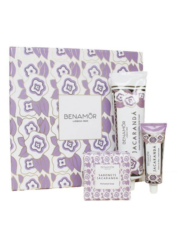 Benamor Jacaranda Gift Set with Body Butter, Hand Cream and Lip Balm with Floral Scents
